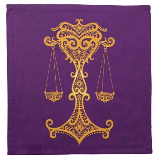 Zodiaco amarillo complejo del libra en púrpura servilletas de papel