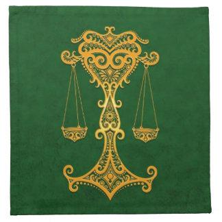 Zodiaco amarillo complejo del libra en verde servilletas imprimidas