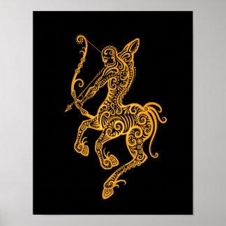 Zodiaco amarillo complejo del sagitario en negro posters