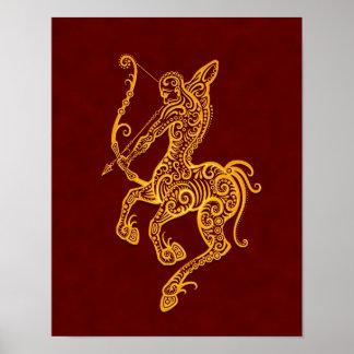 Zodiaco amarillo complejo del sagitario en rojo poster