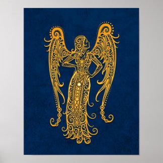 Zodiaco amarillo complejo del virgo en azul póster