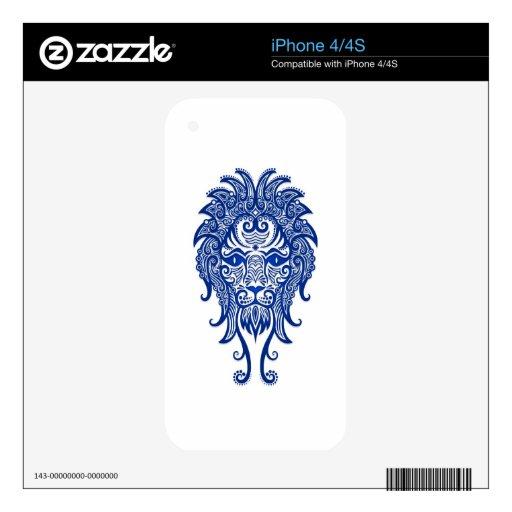 Zodiaco azul complejo de Leo en blanco Skins Para eliPhone 4S
