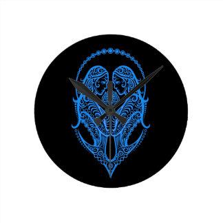 Zodiaco azul complejo de los géminis en negro relojes de pared