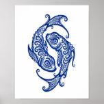 Zodiaco azul complejo de Piscis en blanco Impresiones
