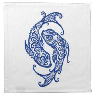 Zodiaco azul complejo de Piscis en blanco Servilleta De Papel