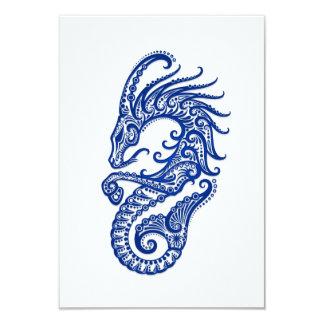 """Zodiaco azul complejo del Capricornio en blanco Invitación 3.5"""" X 5"""""""