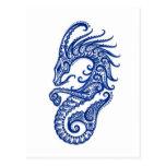 Zodiaco azul complejo del Capricornio en blanco Postales