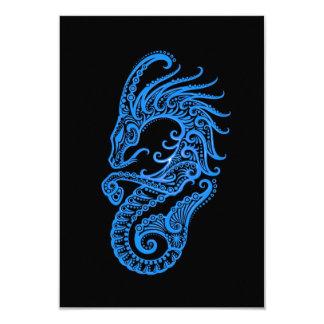 """Zodiaco azul complejo del Capricornio en negro Invitación 3.5"""" X 5"""""""