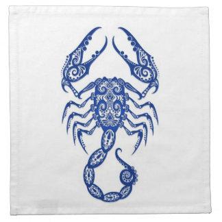 Zodiaco azul complejo del escorpión en blanco servilleta de papel