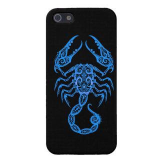 Zodiaco azul complejo del escorpión en negro iPhone 5 carcasa