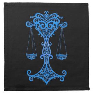 Zodiaco azul complejo del libra en negro servilletas