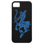 Zodiaco azul complejo del sagitario en negro iPhone 5 fundas