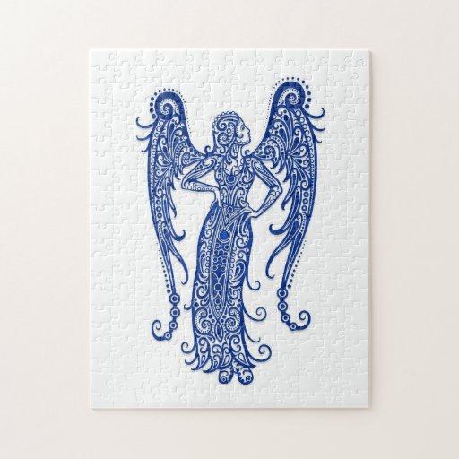 Zodiaco azul complejo del virgo en blanco puzzles