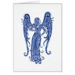 Zodiaco azul complejo del virgo en blanco tarjetón