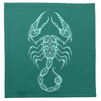 Zodiaco azul del escorpión del trullo complejo servilletas