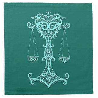 Zodiaco azul del libra del trullo complejo servilleta imprimida