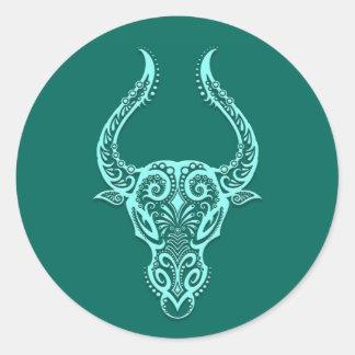 Zodiaco azul del tauro del trullo complejo pegatina redonda