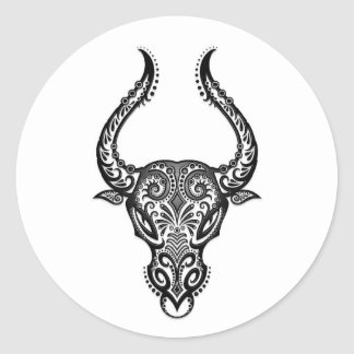 Zodiaco blanco complejo del tauro en negro pegatina redonda