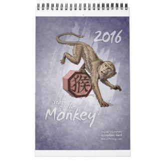 Zodiaco chino: Año del mono 2016 Calendario De Pared