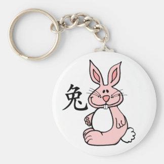Zodiaco chino del conejo (liebre) llavero redondo tipo pin