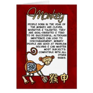 Zodiaco chino - mono tarjeta de felicitación