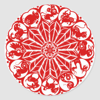 Zodiaco chino Papercut del círculo Pegatina Redonda