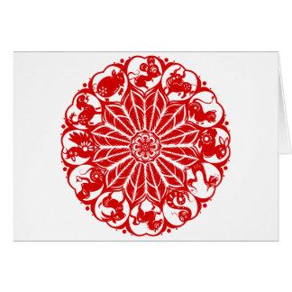 Zodiaco chino Papercut del círculo Tarjeta De Felicitación