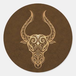 Zodiaco complejo del tauro de Brown Pegatina Redonda