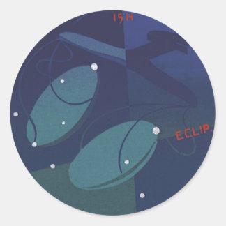 Zodiaco de la constelación de la escala del libra etiqueta redonda