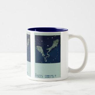 Zodiaco de la constelación de los pescados de Pisc Tazas De Café