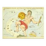 Zodiaco de la constelación del acuario de la tarjeta postal