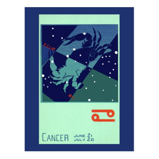 Zodiaco de la constelación del cangrejo del cáncer postal