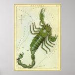 Zodiaco de la constelación del escorpión de la ast poster