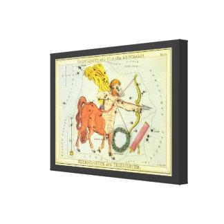 Zodiaco de la constelación del sagitario de la ast lienzo envuelto para galerias
