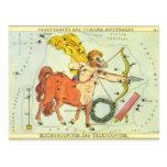 Zodiaco de la constelación del sagitario de la postal