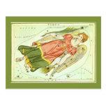 Zodiaco de la constelación del virgo de la postal