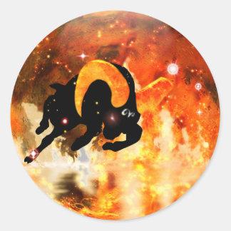 Zodiaco de la mazmorra del arte - aries pegatina redonda