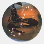 Zodiaco de la mazmorra del arte - escorpión pegatina redonda