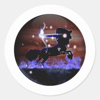 Zodiaco de la mazmorra del arte - sagitario pegatina redonda