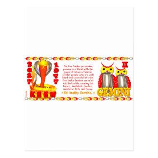 Zodiaco de la serpiente del fuego llevado 1977 tarjeta postal