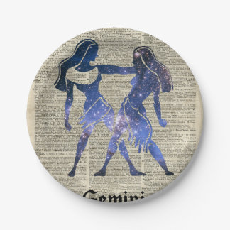 Zodiaco de los gemelos de los géminis en la página plato de papel de 7 pulgadas
