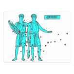 Zodiaco de los géminis postales