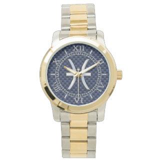 Zodiaco de Piscis en el dial azul de la impresión Reloj De Mano