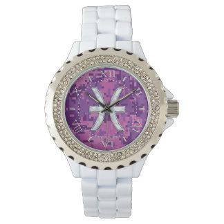 Zodiaco de Piscis en el dial rosado fucsia del Relojes De Pulsera