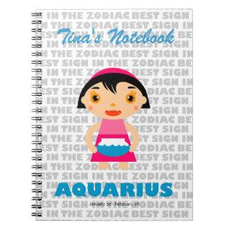 Zodiaco del acuario para los niños libretas espirales