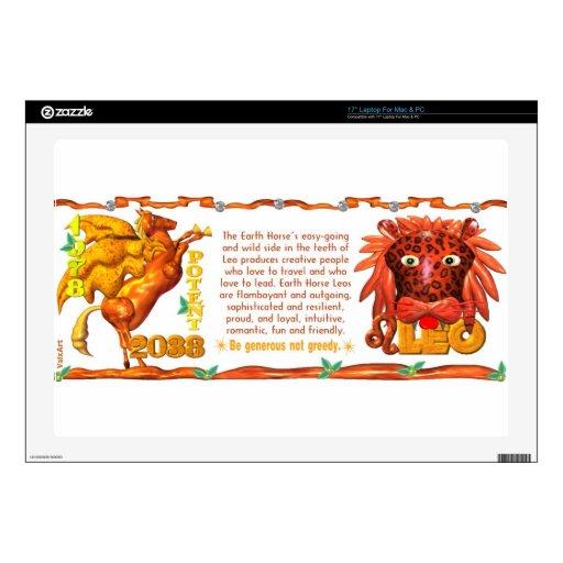 Zodiaco del caballo de la tierra llevado en Leo 19 Calcomanías Para Portátiles