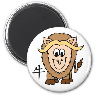 Zodiaco del chino del buey imán redondo 5 cm