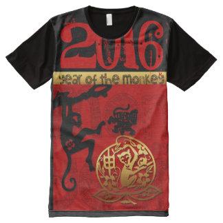 Zodiaco del chino del personalizado 2016 del año playeras con estampado integral