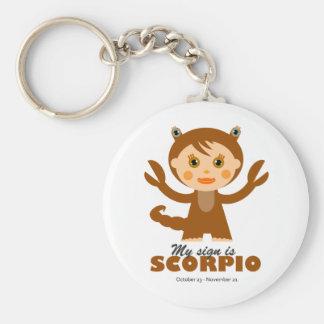 Zodiaco del escorpión para los niños llavero redondo tipo pin
