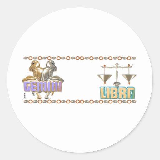 Zodiaco del libra de los géminis etiquetas redondas